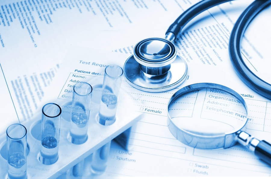 double exposure of stethoscope laboratory test tube magnifying glass and medical information form on desk medical research diagnosis medical report record and history patient concept blue tone